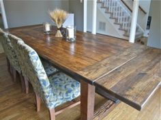Rustic Homemade Farmhouse Table tutorial~ especially love the way the extentions are installed