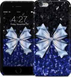 Black and Blue Glitters with Bow iPhone Cases & Skins by Elena Indolfi | #Nuvango