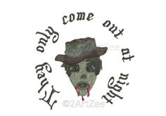 They Only Come Out at Night Halloween Scary Zombie Machine Embroidery Design Ghoul 3 sizes Blood Curdling Frightening by 2artzee on Etsy