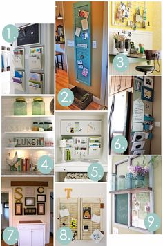 Kitchen command/message center inspirations, so many great ideas! #organize