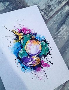 tattoo bird pocket watch origami watercolor abstract compass