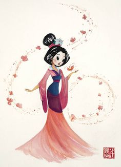 I bought this one when I went to Disney World! Mulan by Liana Hee, available at the Wonderground Gallery in Disneyland Disney Pixar, Disney Fan Art, Disney Animation, Manga Disney, Walt Disney, Disney Artwork, Downtown Disney, Disney Drawings, Disney And Dreamworks