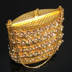 76846e7e575b LaRegale Evening Purse Gold Metallic Fabric by ClarasChicBoutique Satin  Fabric