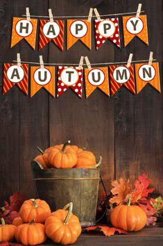Happy Autumn Bunting Banner