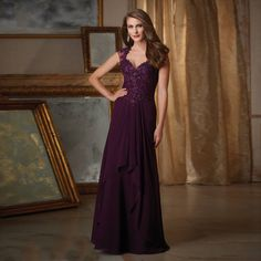 >> Click to Buy << In Fashion Elegant Sweetheart with Beading Modest Purple Chiffon A-line Mother of the Bride Dresses 2016 Appliques #Affiliate