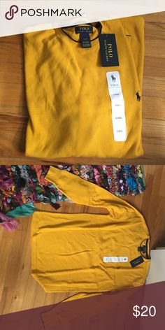 Brand new men's polo waffle long sleeve Brand new!! With tags mustard yellow comfy waffle shirt from Ralph Lauren polo Polo by Ralph Lauren Shirts Tees - Long Sleeve