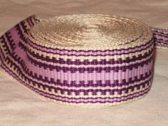 Cream, lavender, and purple hand woven inkle trim (over 14 feet)