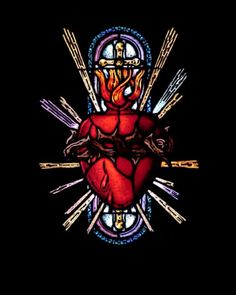 Sacred heart, stained glass