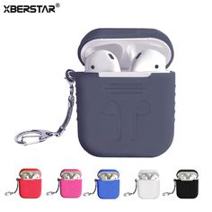 Protector Case for Apple airpods Skin Cover Silicone Bay + Stainless Steel Key Chain Six Colors Generation for Air Pods case Air Pods, Cute Gifts, Key Chain, Headphones, Stainless Steel, Apple, Colors, Cases, Stuff To Buy