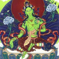 Green Tara  the female Buddha of enlightened activity    Her mantra OM TARE TUTTARE TURE SVAHA    Green Tara will not only will give to beings whatever they may need, but she is also able to allay each of the major fears of beings, common fears as well as inner fears. Whatever fears beings suffer from, whenever they would recite the 21 praises to Tara, or even merely recite her ten-syllable mantra, OM TARE TUTTARE TURE SVAHA, their fears have been pacified, and their needs have been…