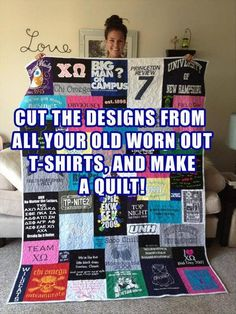 T-shirt quilt... This could be a great idea to make with the old shirts my daughter has outgrown, but is unwilling to donate because she's so attached to them.