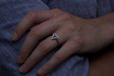 Moira Patience Fine Jewellery Edinburgh Bespoke Triangular Platinum Sapphire and Diamond Engagement Ring Patience, Sapphire Diamond Engagement, Ring Verlobung, Fine Jewelry, Jewellery, Cluster Ring, Geometric Shapes, Blue Sapphire, Diamond Jewelry