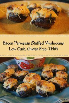 Bacon Parmesan Stuffed Mushrooms (Low Carb, Gluten Free)