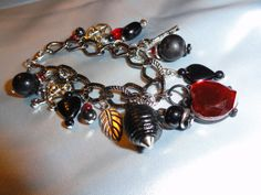 Goth Wiccan Witch Charm Bracelet with Pentagram by TornadicWhims, $18.00