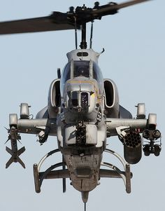 A USMC Bell AH-1 Super Cobra outfitted with, left to right, AIM-9 Sidewinder anti-aircraft missile, 19xFFAR pod & TOW anti-armor missile rack.: Super Cobra, Fly, Cobra S Fangs, Aircraft, Airplanes Helicopters, Helicopters Planes Military, Photo, Cobra