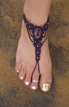 Red Dalmatian Jasper Macrame Barefoot Sandal | Stone of Relaxation | Healing Crystal | Single Foot Bracelet Micromacrame | Finger Bracelet by EarthCultured on Etsy https://www.etsy.com/listing/243383135/red-dalmatian-jasper-macrame-barefoot