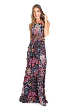 Vestido bordado estampa cashmere floral | Dress to