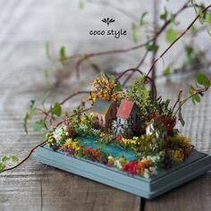 Miniature Houses and Original Garden Designs, Floral Art by Coco Style Miniature Crafts, Miniature Houses, Miniature Fairy Gardens, Mini Houses, Small Flower Gardens, Fall Flower Arrangements, Fairy Garden Houses, Beautiful Gardens, Garden Design