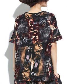 Hip hop animal t shirt for girls lion short sleeve tops
