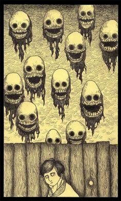 Assustadora, doentia, tensa, inquietante... Esses são alguns adjetivos utilizados para tentar classificar a arte do dinamarquês Don Kenn, que usa blocos de anotação autocolantes, os famosos post-its, para apresentar através de ilustrações um mundo inusitado e apavorante..