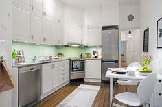 Slick white kitchen with mint accents