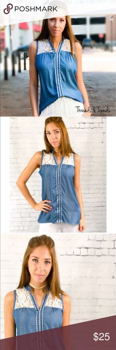 LAST ONE SALE! Chambray Blouse Beautiful chambray & lace Sleeveless blouse. Features lace on the bust area. Perfect and light weight for spring.                                 Measurements: FINAL PRICE NO EXTRA DISCOUNTS Small  Bust: 42 Length: front 25.5 \\\/ back 31  Medium  Bust: 44 Length: front 26 \\\/ back 31  Large  Bust: 46 Length: front 27 \\\/ back 32  Fabric content: 100% rayon Threads & Trends Tops