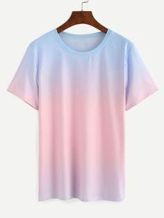 Kurzarm T-Shirt mit Farbverlauf Rundhals lässig