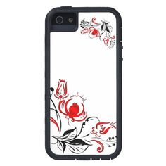 Red and Black flowers iPhone 5 Cases