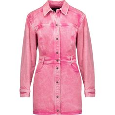 Roberto Cavalli Faded denim mini dress ($350) ❤ liked on Polyvore featuring dresses, roberto cavalli, pink, loose fit dress, short fitted dresses, loose dresses, short loose dresses and pink dress