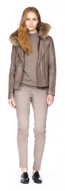 ZOOEY TAUPE FITTED LEATHER JACKET WITH REMOVABLE FUR HOOD
