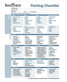 Packing Checklist On Pinterest Packing Lists Packing