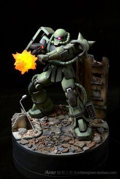 GUNDAM GUY: MG 1/100 MS-06 Zaku II - Diorama Build