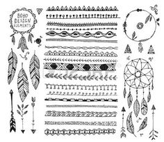 doodle border: vector floral decor set, collection of hand drawn doodle boho style dividers, borders, arrows design elements, dream catchers. Isolated. May be used for wedding invitations, birthday cards, banners Illustration
