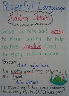 Down Under Teacher: writing, adding details
