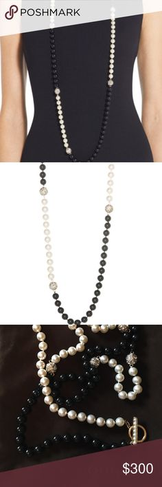 """NWOT St. John's Signature Pearl Two-Tone Necklace ▪️NWT ▪️BRAND NEW, Comes in it's original St. John's Jewelry Bag ▪️Make your Caviar & Creme pieces come alive with the unerring addition of a length of pearls in simple & stunning black & white ▪️ Color: Light Gold Black Pearl Crystal Cream Pearl ▪️Necklace is: 80% Swarovski Pearl, 12% Metal, 6% Faceted Swarovski Stones, & 2% Waxed Thread ▪️Care: Professionally Clean ▪️Closure type: Hook-and-Loop ▪️Karat: Not Applicable ▪️ Overall Length: 51""""…"""