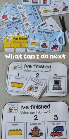 """I use these """"Finished Cards"""" for my kiddos that finish their scheduled tasks…"""