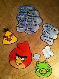 Painted for the angry birds themed classroom door.