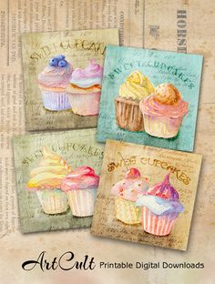 LITTLE CUPCAKES  3.8x3.8 inch size hand-painted images by ArtCult