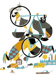 A poster for a bicycle Retro Cruise in Kyiv. Original style! Patterns on the socks and jacket is fabulous.