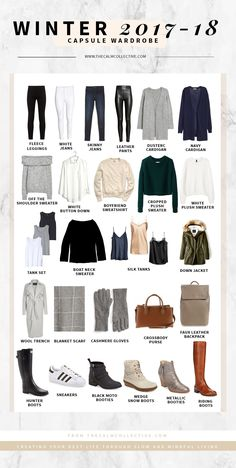 My Winter Capsule Wardrobe + a FREE Capsule Edit Worksheet - The Calm Collective wardrobe closet capsule wardrobe holiday outfits packing Winter Capsule Wardrobe For 2017 and 2018 - The Calm Collective Capsule Wardrobe 2018, Capsule Outfits, Fashion Capsule, Travel Wardrobe, Mode Outfits, New Wardrobe, Fashion Outfits, Womens Fashion, Winter Wardrobe Essentials