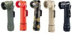 Military Style D Cell Anglehead Flashlights with Colored Lenses (2- pack)