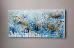 Gold and blue abstractlarge painting abstract art original
