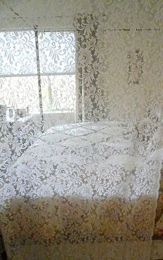 Antique Lace Curtains | Reserved Vintage Lace CurtainsShabby Cottage by TimelessShabby
