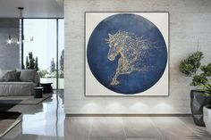 Horse painting on canvasoriginal abstract painting Large Canvas Wall Art, Extra Large Wall Art, Blue Abstract Painting, Large Painting, Horse Canvas Painting, Contemporary Abstract Art, Texture Art, Stretching, Artworks