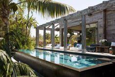 Cortazzo Pavilion | Martyn Lawrence Bullard Design Khloe Kardashian, Outdoor Swimming Pool, Swimming Pools, Luxury Home Decor, Luxury Homes, Beach Entry Pool, Mansion Designs, Exterior Siding, Swimming Pool Designs