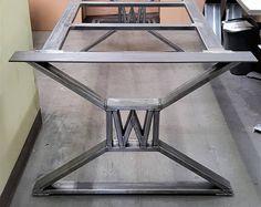 Moderne, industriel pieds de Table à manger - avec construit «W», modèle n ° TTS09B-W, avec cadre de renfort