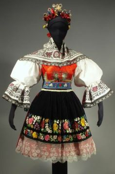 RARE Moravian Folk Costume Kyjov Embroidered Apron Skirt Blouse Czech Kroj Shawl | eBay