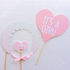 It's a Girl Baby Shower Photo Booth Props Rattle Bib