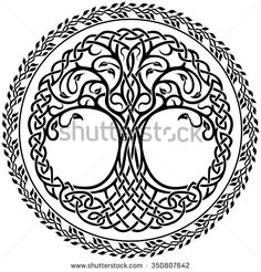 Vector ornament, decorative Celtic tree of life with floral round border - stock vector