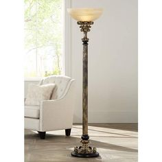 Florencio Antique Gold Torchiere Floor Lamp - #4C504 | Lamps Plus
